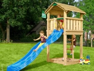 Jungle Gym Cottage climbing frame with blue slide in garden