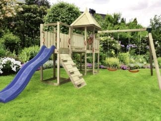 Cheeky Monkey corner unit with blue slide in garden