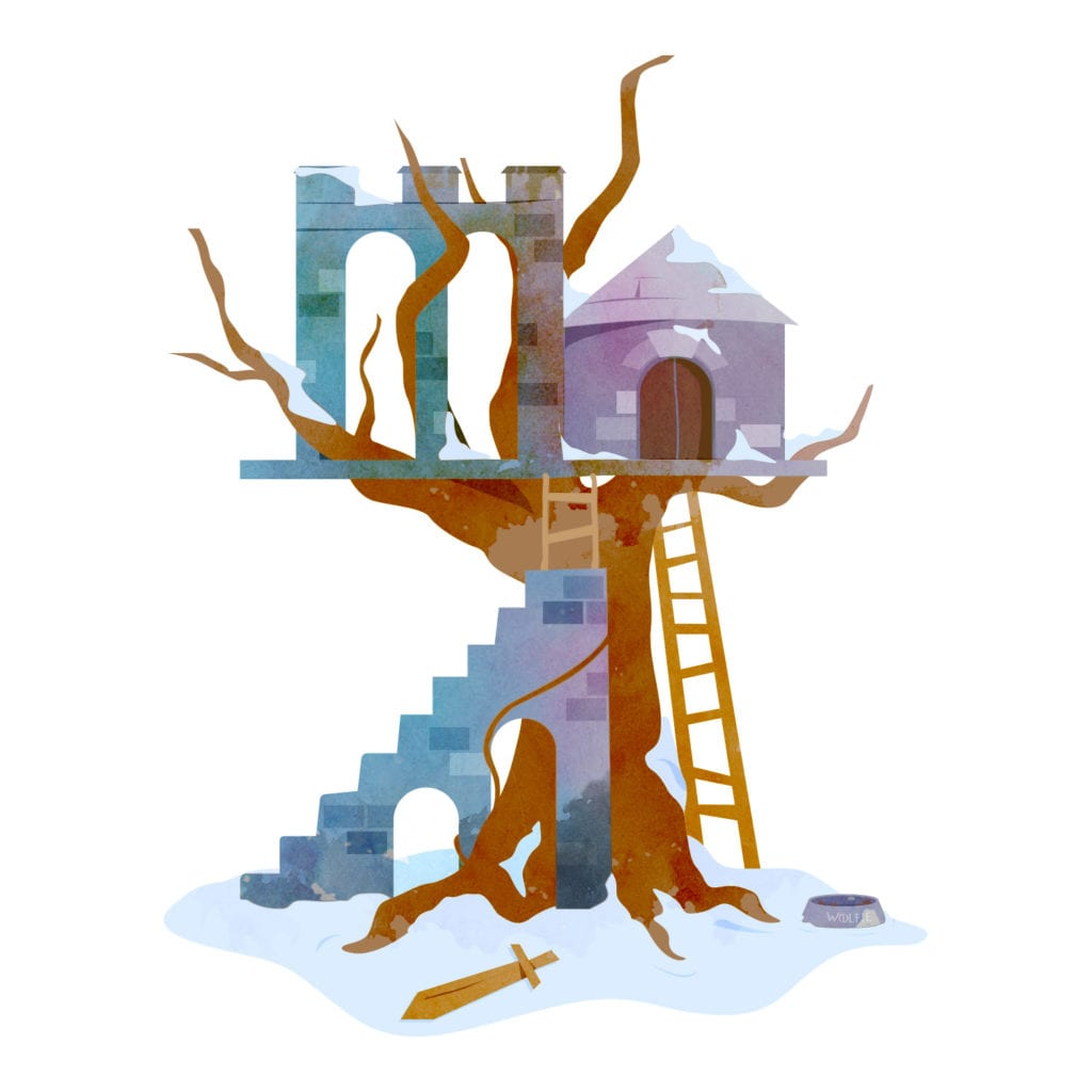 A watercolour drawing of a Game of Thrones inspired treehouse complete with stone wall and secret ladder