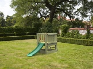 Cheeky Monkey with green slide in garden