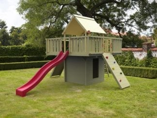 Cheeky Monkey lookout tower with red slide in garden