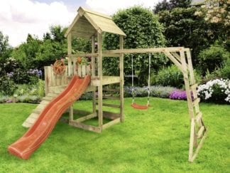Cheeky Monkey monkey unit with red slide in garden