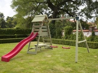 Cheeky Monkey mountain picnic with red slide in garden