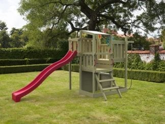Cheeky Monkey mutli tower with red slide in garden