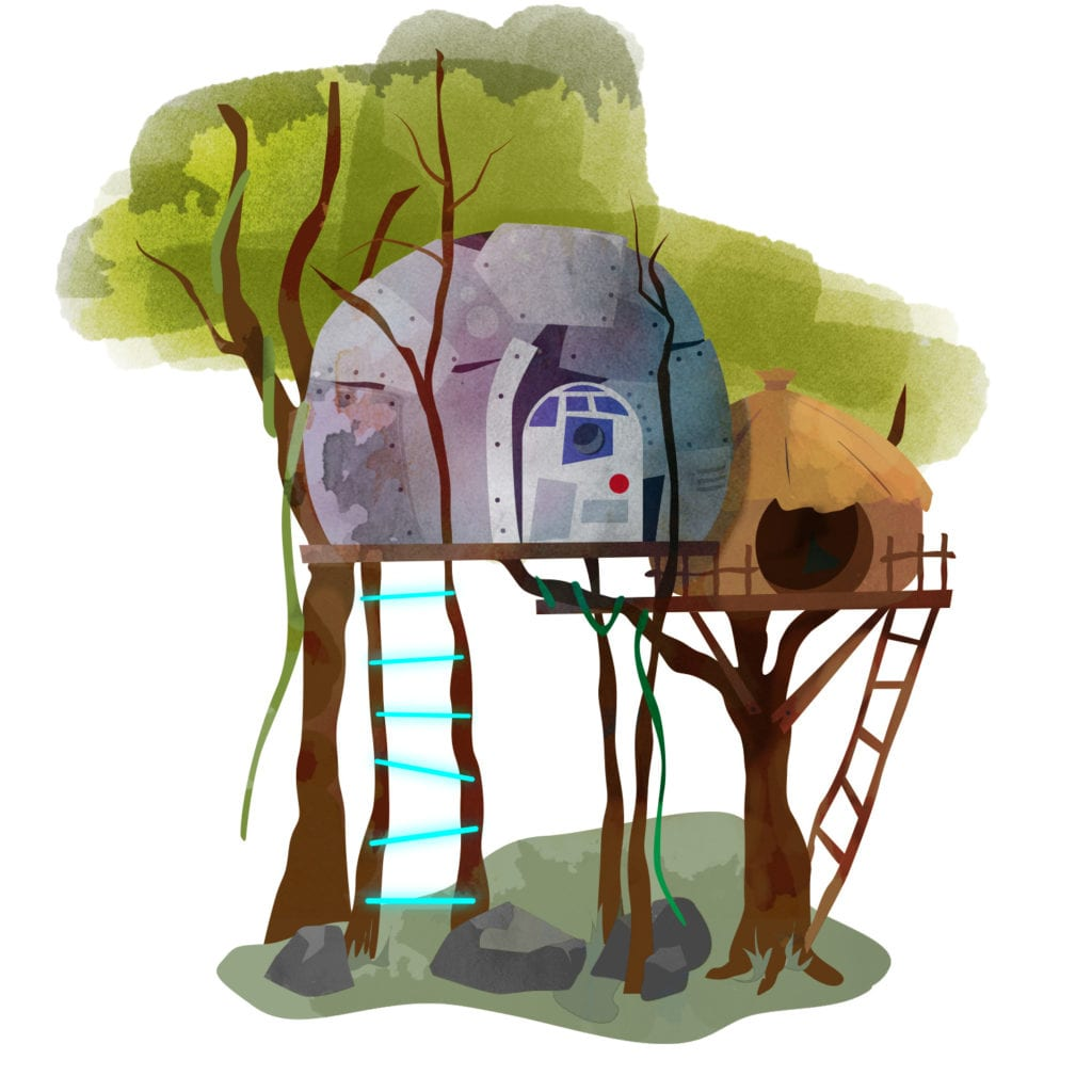 A watercolour drawing of a Star-Wars inspired treehouse compete with R2-S2 doorway