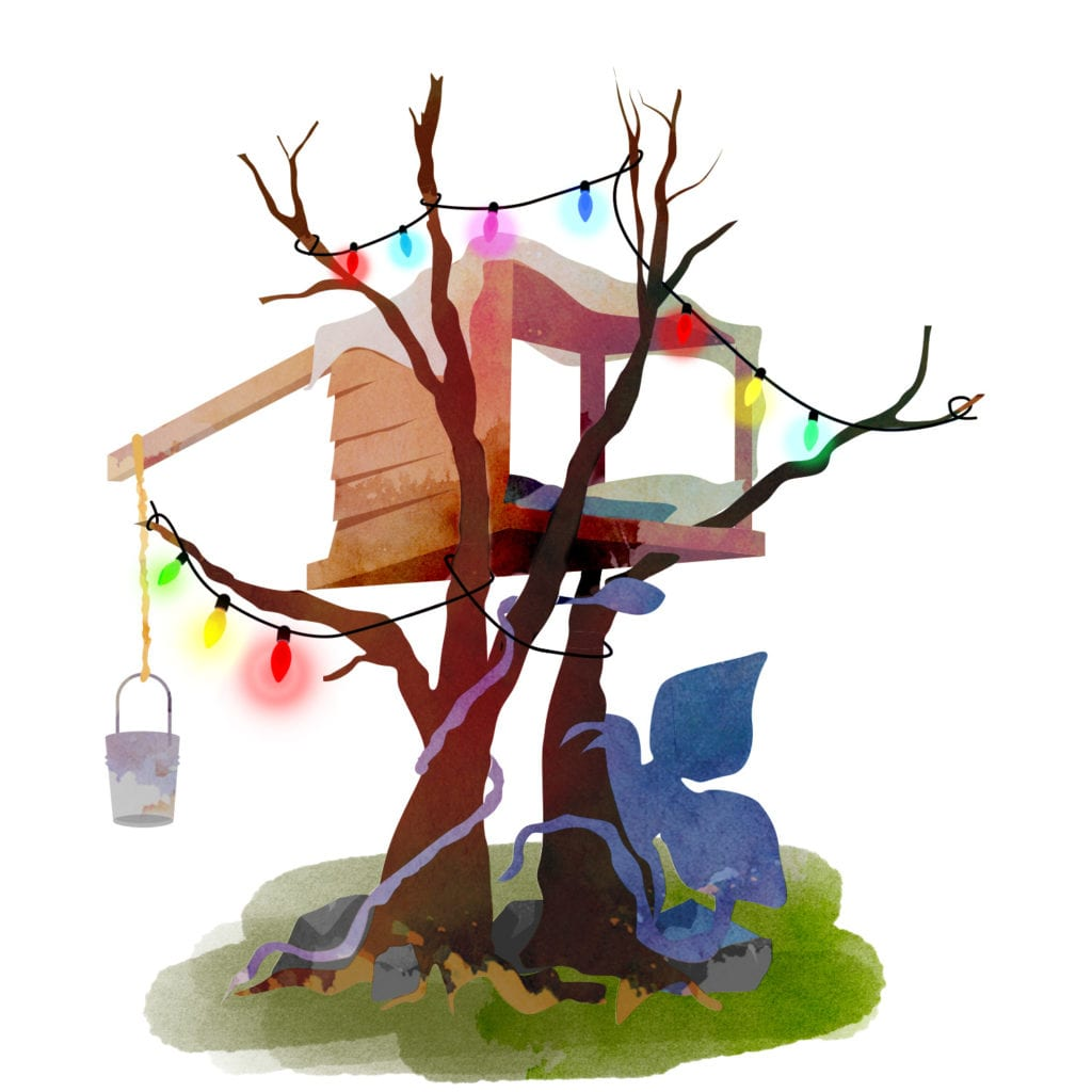 A watercolour drawing of a Stranger Things inspired treehouse with coloured lights and blanket fort