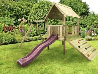 Cheeky Monkey toddler tower with pink slide in garden