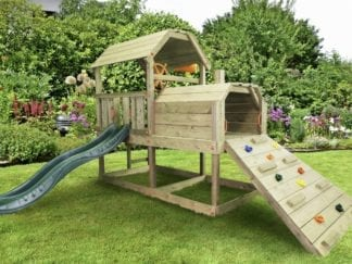 Cheeky Monkey train inc dark green slide in garden