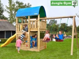 Jungle Gym farm playhouse 2 swing with yellow slide in garden