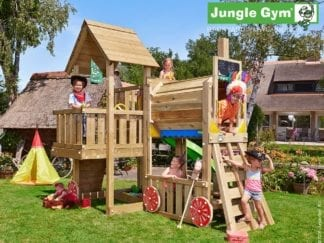 Jungle Gym cubby train with green slide in garden