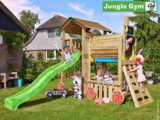 Jungle Gym cottage train with green slide in garden