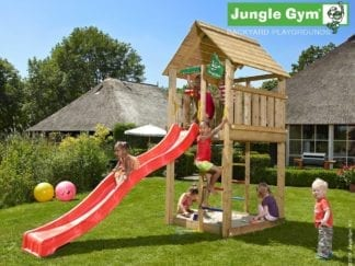 Jungle Gym cabin climbing frame with red slide in garden