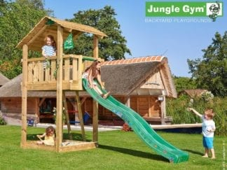 Jungle Gym shelter climbing frame with dark green slide in garden