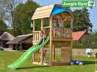 Jungle Gym barn climbing frame with green slide in garden