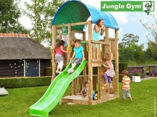Jungle Gym Farm climbing frame with green slide in garden