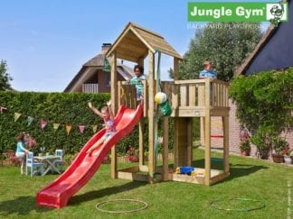 Jungle Gym mansions climbing frame with red slide in garden