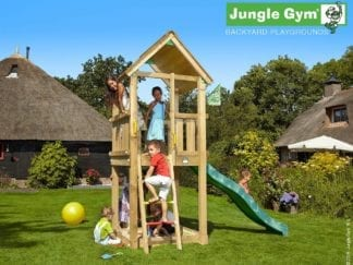 Jungle Gym Club climbing frame with dark green slide in garden