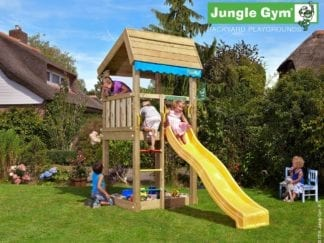 Jungle Gym Home climbing frame with yellow slide in garden
