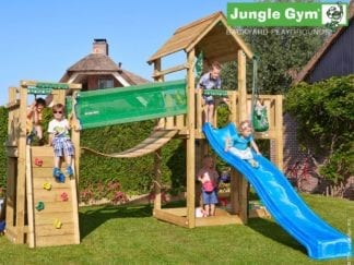 Jungle Gym mansion bridge with blue slide in garden