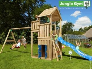 Jungle Gym palace with playhouse swing and blue slide in garden