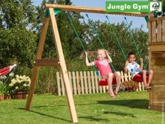 Jungle Gym 2 swing module wih 2 swing seats included in garden