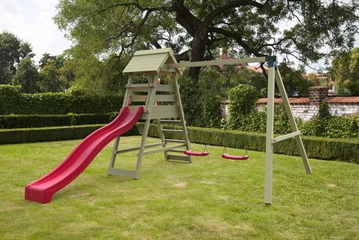 Cheeky Monkey mountain with red slide in garden
