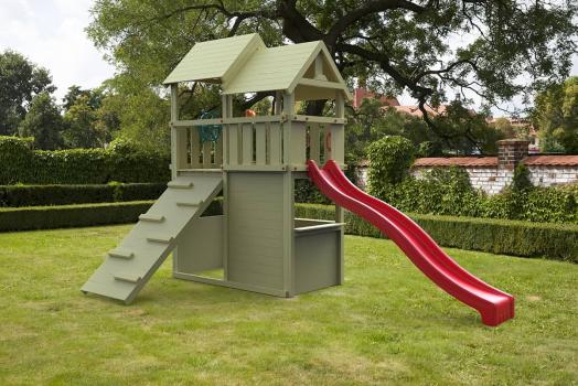 Cheeky Monkey solowave with red slide in garden