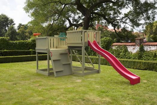 Cheeky Monkey explorer with red slide in garden