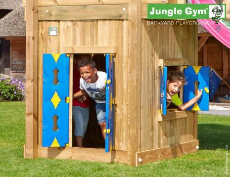 Jungle Gym playhouse module encloses base of jungle gym