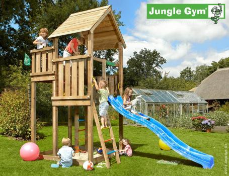 Jungle Gym palace climbing frame with yellow slide in garden