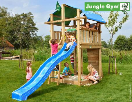 Jungle Gym fort climbing frame with blue slide in garden