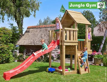 Jungle Gym cubby climbing frame with red slide in garden