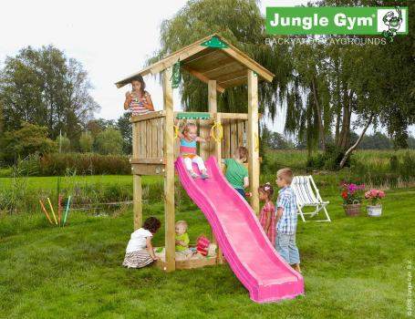 Jungle Gym Casa climbing frame with fuchsia slide in garden