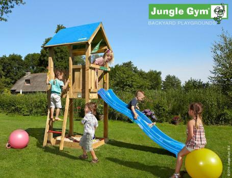 Jungle Gym Castle climbing frame with blue slide in garden
