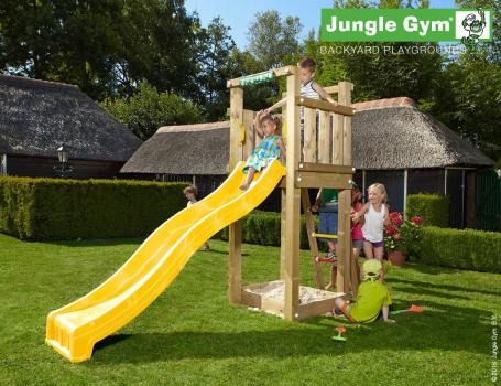 Jungle Gym Jungle Tower climbing frame with yellow slide in garden