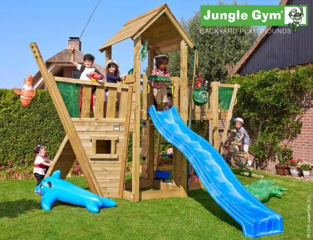 Jungle Gym mansion boat with blue slide in garden