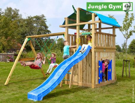 Jungle Gym fort with playhouse swing and blue slide in garden