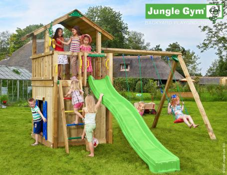 Jungle Gym chalet with playhouse swing and green slide in garden