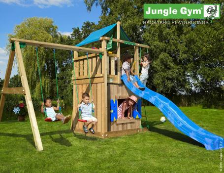 Junlge Gym lodge with playhouse swing and blue slide in garden