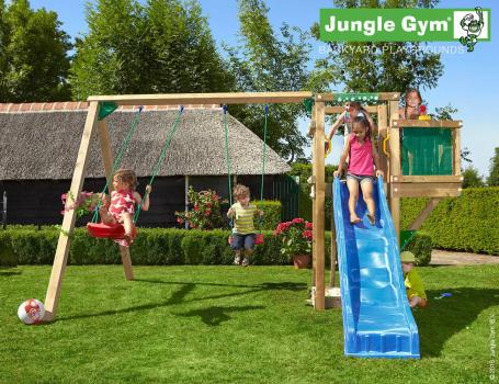 Jungle Gym tower balcony swing with blue slide in garden