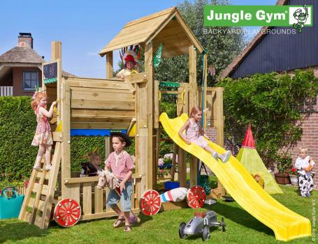 Jungle Gym mansion train with yellow slide in garden