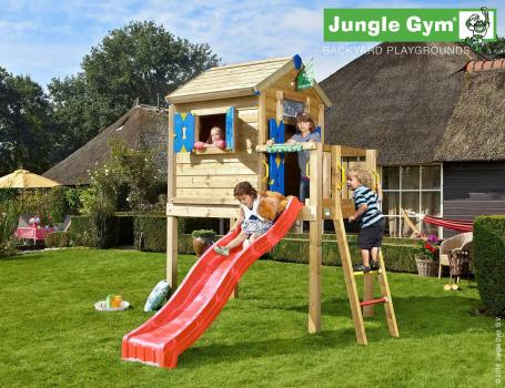 Jungle Gym playhouse L with red slide in garden