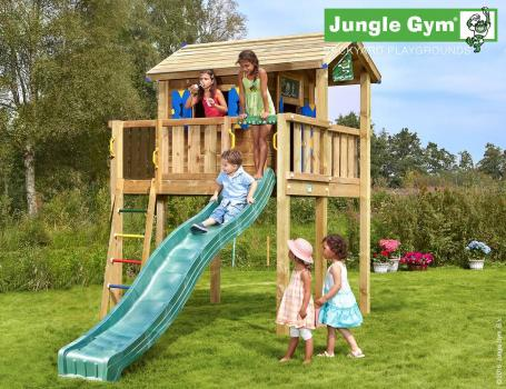 Jungle Gym playhouse xl with dark green slide in garden