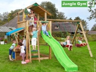 Jungle Gym chalet mini market 2 swing with green slide in garden