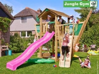 Jungle Gym cottage boat with pink slide in garden