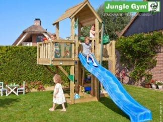 Jungle Gym mansion balcony with blue slide in garden