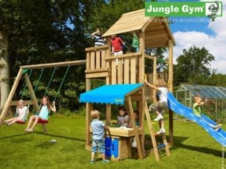 Jungle Gym palace mini market 2 swing with blue slide in garden