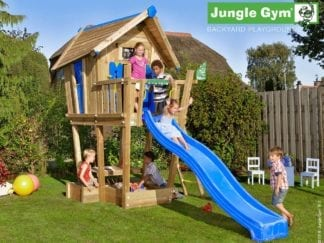 Jungle Gym crazy playhouse with blue slide in garden