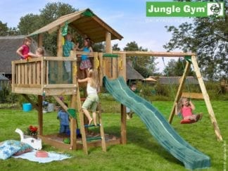 Jungle Gym chalet balcony swing with dark green slide in garden