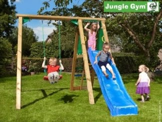Jungle Gym peak with red swing seat and blue slide in garden